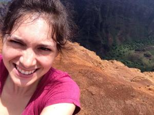 Happy on the cliff's edge, Nepali Coast, Kauai, May 2014